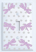 Purple Dragonfly Switch Plate Covers Single Toggle / Dragonfly Nursery Wall Decor