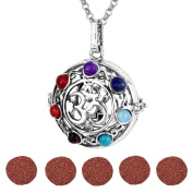 Top Plaza Aromatherapy Essential Oil Diffuser Necklace Antique Silver 7 Chakra OM Symbol Locket Pendant With 5 Dyed Lava Stones