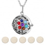 Top Plaza Aromatherapy Essential Oil Diffuser Necklace Antique Silver 7 Chakra Lucky Elephant Locket Pendant With 5 Dyed Lava Stones