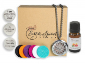 Aromatherapy Essential Oil Inspiration Necklace Gift Set, Stainless Steel Flower Of Life Locket With Crystal Inset & Adjustable Chain + 3 Affirmation Charms + 6 Colour Diffuser Pads + Oil