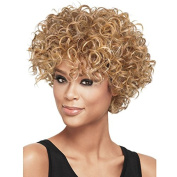 Aoert Afro Short Curly Wig for Women Cosplay Heat Resistant Synthetic Wig with Cap Blonde & Black 36cm