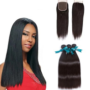 """Queen Love Hair Peruvian Virgin Straight With Closure 8A Grade 3 Bundles With Closure 100% Unprocessed Peruvian Remy Human Hair Weave14"""" 41cm 46cm with 30cm"""