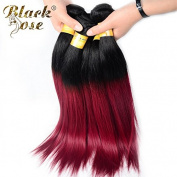 Black Rose Hair Peruvian ombre hair 4 bundles 20 20 22 60cm Straight ombre hair extensions two tone #1b/burgundy black to red Straight Human Hair Weave,100g/piece
