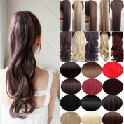 Haironline Wrap Around Synthetic Ponytail Clip in Hair Extensions One Piece Magic Paste Pony Tail Long Wavy Curly Soft Silky for YOU
