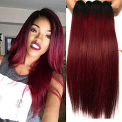 Black Rose Hair 7A Grade Ombre Hair Extensions Brazilian Hair 4 Bundles Straight 2 Tone Unprocessed Human Hair Weave #1b-99j