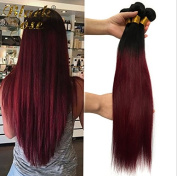 Black Rose Hair Straight Brazilian Ombre Human Virgin Remy Hair Bundles Extension Two Tone Colour 1b/99j Black + Burgundy Hair Weaves