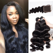 Lemoda Hair 10 12 14 16 and 30cm Closure Brazilian Loose Wave Virgin Hair Weft Unprocessed Remy Human Hair Extensions Natural Colour