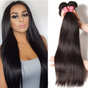 Malaysian Virgin Straight Hair Weave 3 Bundles,6A Grade 100% Unprocessed Human Hair Weft Extensions 95-100g/PC Natural Colour