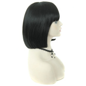 QDBowin Queen Hair Women Black Bob Wigs Synthetic Short Straight Black Wigs