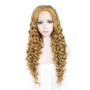 Synthetic Lace Front Wig 70cm Extra Long Curly Mixed Blonde