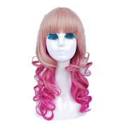 Mzcurse Womens Wavy Curly Pink Blonde Mixed Highlights Layers Synthetic Wig