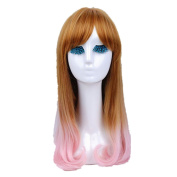 Mzcurse Womens Curly Pink Golden Blond Mixed Highlights Layers Synthetic Wig