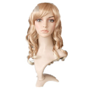 Mzcurse Womens Wavy Curly Blonde Mixed Highlights Layers Synthetic Wig