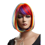 Mzcurse Womens Rainbow Chin Length Bob Hair Colourful Wig