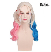 HairPhocas Pink and Blue Ponytail Wig Long Curly Hair Halloween Costume Cosplay Wig