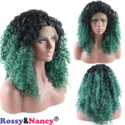 Rossy & Nancy Synthetic Lace Front Wig Heat Resistant Afro Kinky Curly Black Ombre Dark Green Colour Heavy Density Wig with Baby Hair for Black Women 46cm