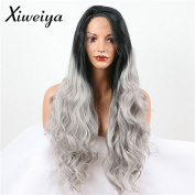 Xiweiya Long Hot Wavy Ombre Grey Dark Root Synthetic Lace Front Wig Glueless Ombre Tone Colour Black And Grey Heat Resistant Hair Wig