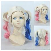 Kadiya Cosplay Wig Curly Gradient Blue Pink Anime Halloween Synthetic Hair