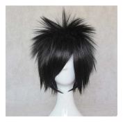 Kadiya Cosplay Wig Short Stylish Black Boy Male Anime Show Synthetic Hair
