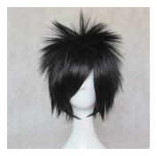 Kadiya Cosplay Wig Short Stylish Black Boy Male Anime Show Synthetic Hair