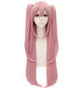 Kadiya Cosplay Wig 100cm Long Straight Pink Anime Hair with Ponytail