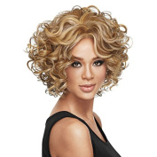 Aoert Short Curly Wig for Black Women Heat Resistant Synthetic Middle Part Wig 36cm