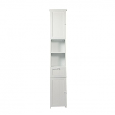 woodluv slim shaker tall boy free standing bathroom storage cabinet