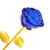 Crystal Roses,ZJchao Long Stem 24k Gold Plated Rose Flower Dipped Rose Novelty Girlfriend Gifts Glass Blue Roses Ornaments Decor