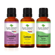 Lemon, Lavender and Peppermint Set. 100% Pure, Undiluted, Therapeutic Grade. (3 x 30 ml