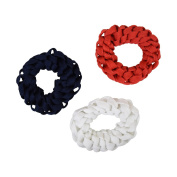 Set of 3 Braided Hair Scrunchies Pony Holders for Women and Girls - Red Navy White