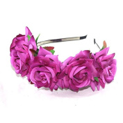 CellElection Amazing Flower Crown Headband Wedding Festival Double Floral Garland Hairband for Different Colour