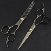 EYX Formula Stainless Steel Hair Scissors Set-Thinning Scissors and Flat Regular Scissors ,Hair Cutting Shears Hair Style Tool Hairdressing Accessories for Personal Usage,Salon,Barber Shop.