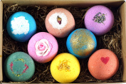 LifeAround2Angels 8 USA Made Bath Bombs Gift Set - 130ml Each - A Unique Luxury Gift for Her - Bath Bombs Kit - Ultra Lush Spa Fizzies - Best Gift Ideas - Valentine's Day Gift Set -