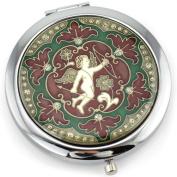 Cupid Gel Inlay - Dual Sided Steel Compact Mirror - Regular & Magnify
