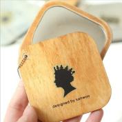 Makeup Cosmetic Portable Wood Pocket Purse Mirror