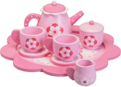 Girls Beautiful Pink Wooden Flower Traditional Style Tea Set Kids Toy 24cm