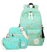 Teenagers Canvas Graffiti Daypacks Rucksack Students School Backpack 37cm Laptop Backpack + Messenger Bag + Purse