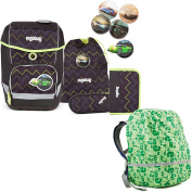 Ergobag Cubo Worn as a top or Drübär School Rucksack Set 5 Pieces with Rain Cover - Green