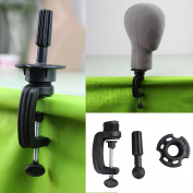 Dreambeauty Black Wig Stand Clamp Manikin Head Wig Holder Clamp for Wig Head