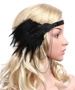 BABEYOND Women's Black Feather Headband 1920s Headpiece Vintage Hair Accessories Beaded Headband