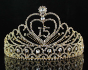 Quinceanera Sweet 15 Fifteen Birthday Rhiestone Tiara Crown W Hair Combs T1756g Gold