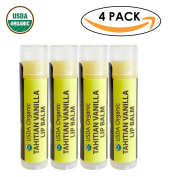 USDA Organic Lip Balm by Sky Organics - 4 Pack Vanilla Lip Balms -- With Beeswax, Coconut Oil, Vitamin E. Best Lip Plumper Chapstick for Dry Lips- Adults & Kids Lip Repair. Made In USA