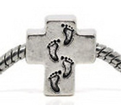 Beads Hut - Footprints In The Sand Cross Religious God Jesus Charm for Silver Euro Bracelet