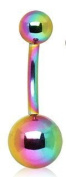 Belly Button Ring Navel Multi Colour Anodized Titanuim Over 316l Surgical Steel Non Dangle 14 Gauge 1.1cm Length By Eg Gifts