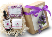 LAVENDER & ROSE ORGANIC BATH & BODY GIFT SET - The Best Valentine Gift - Pamper Her w/ All Natural Luxury! - Scented w/ Pure Essential Oils -Beautifully Packaged and Ready to Give