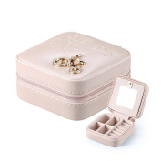 Travelmall Professional Small Leather Travel Jewellery Box Organiser Rings Earrings Necklace Display Storage Case