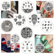 NICOLE DIARY 10Pcs Nail Art Stamp Template Animal Image Plate Kits Stainless Steel Circular Nail Stamping Plates NDP001-010