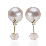 Berry Ya natural akoya18K gold inlaid diamond seawater pearl earrings B0607
