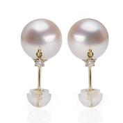 Berry Ya natural akoya18K gold inlaid diamond seawater pearl earrings B0607