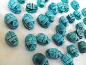 12 Egyptian Faience Scarab Carved Hieroglyph Beads XS lux Pendant Stone